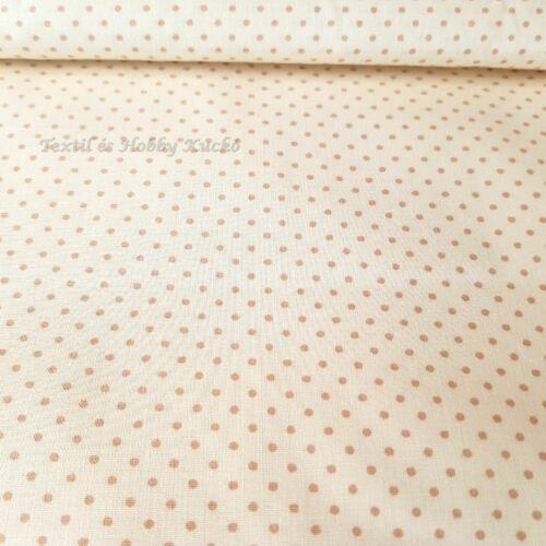 Ecrü alapon drapp pöttyös pamutvászon ( 2 mm )