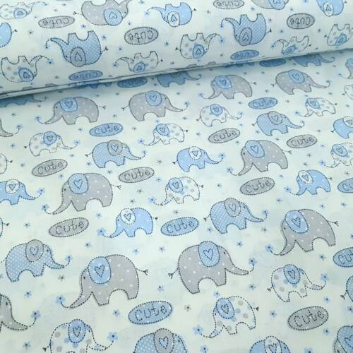 Szürke-kék elefántos pamutvászon