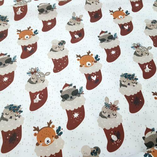 Erdei állatkák karácsonyi csizmában - PRÉMIUM pamutvászon (158 cm)