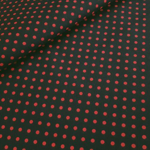 Fekete alapon piros pöttyös pamutvászon (5mm)