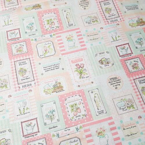 Gardenes pamutvászon - pasztell rózsaszín-zöld