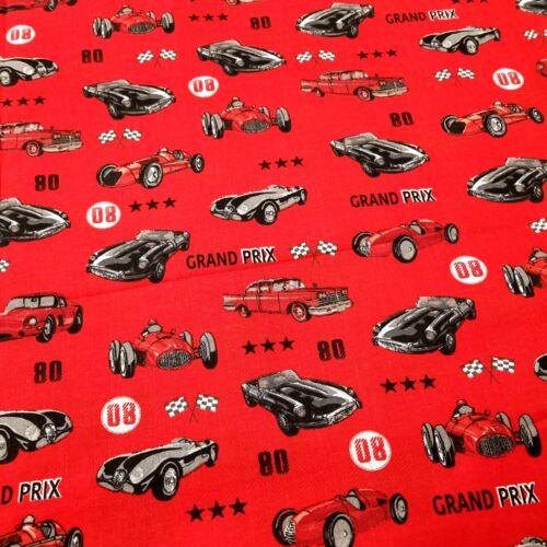 Grand Prix - versenyautós pamutvászon - 160 cm - piros