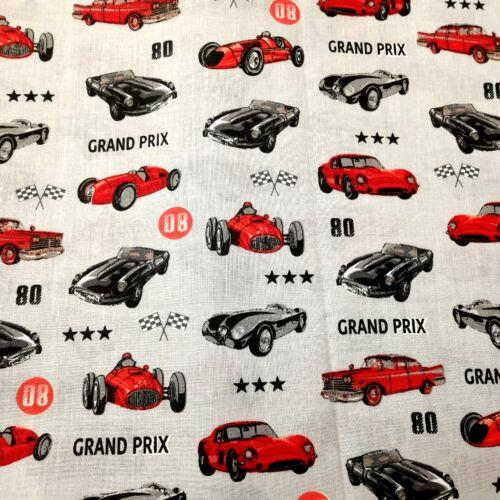Grand Prix versenyautós pamutvászon - 160 cm - szürke