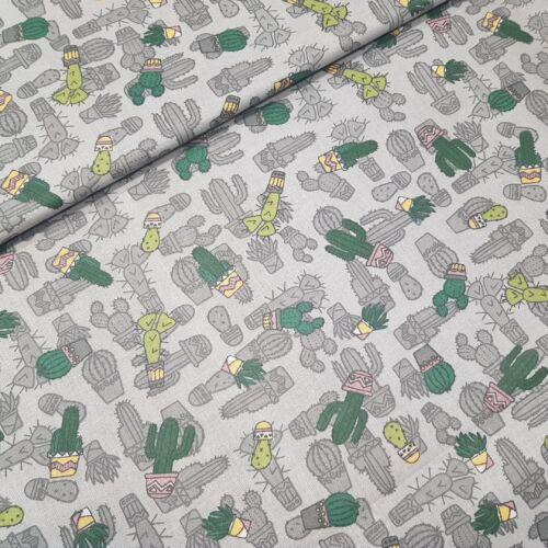 Kaktuszos pamutvászon - szürke