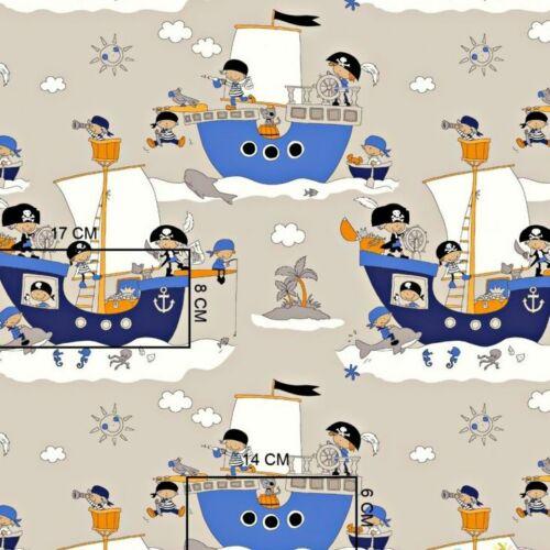 Kalóz hajós pamutvászon beige alapon (160 cm)