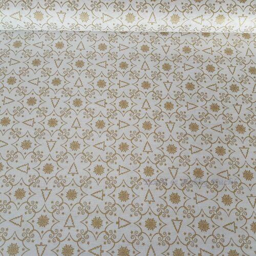 Karácsonyi fehér-arany pamut-puplin vászon - EXTRA minőség