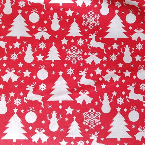Karácsonyifa, hóember, rénszarvasok - karácsonyi pamutvászon piros alapon (160 cm)