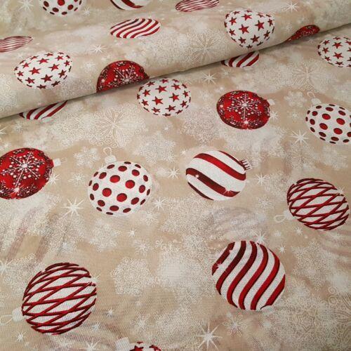 Karácsonyfa gömbös karácsonyi dekorvászon - bézs alapon