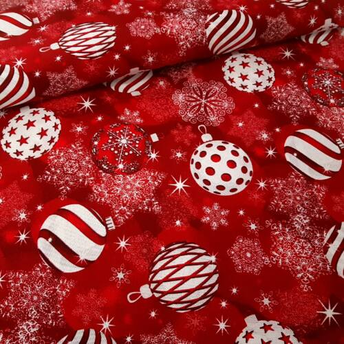 Karácsonyfa gömbös karácsonyi dekorvászon - piros alapon