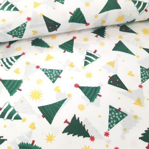Karácsonyfás pamutvászon fehér alapon - kevert szálas