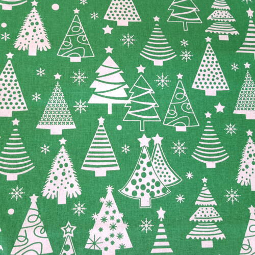 Karácsonyfás pamutvászon zöld alapon (160 cm)