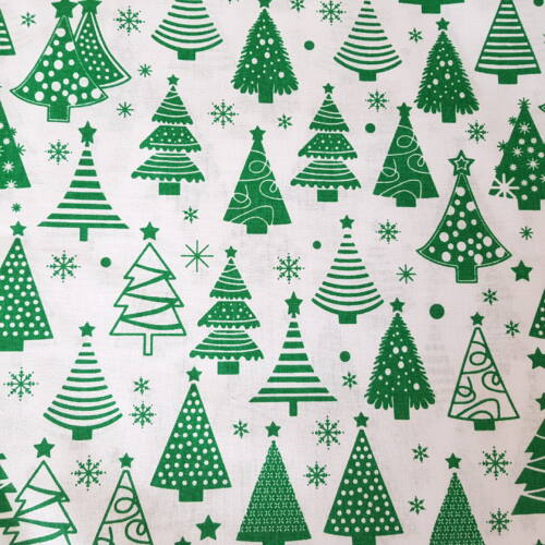 Karácsonyfás pamutvászon fehér alapon (160 cm)