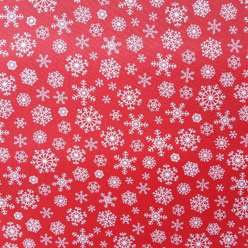 Karácsonyi impregnált vászon - hópelyhes-piros