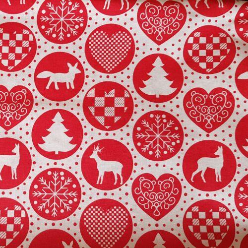 Karácsonyi díszek piros körben - pamutvászon (160 cm)