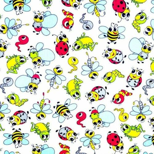 Katicás, hernyós, méhecskés pamutvászon fehér alapon (160 cm)
