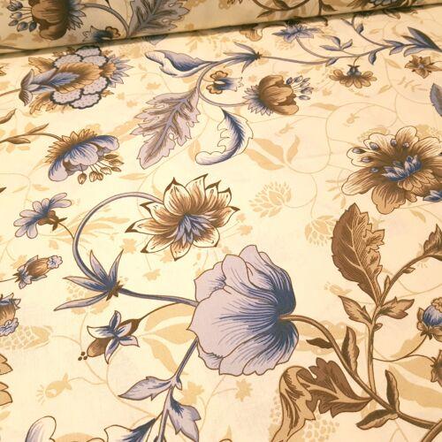 Kék-barna nagyvirágos pamutvászon