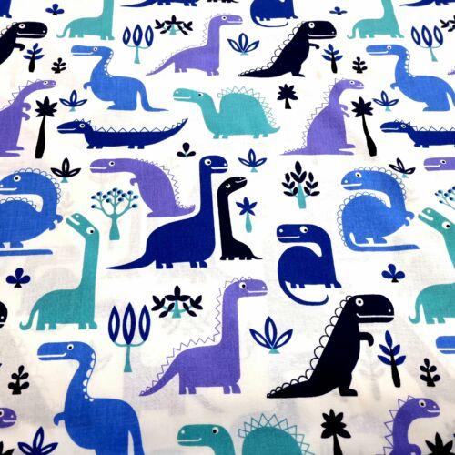 Kék-lila dinós pamutvászon