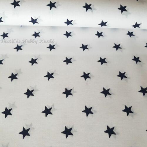 Kék nagy csillagos pamutvászon fehér alapon - 160 cm