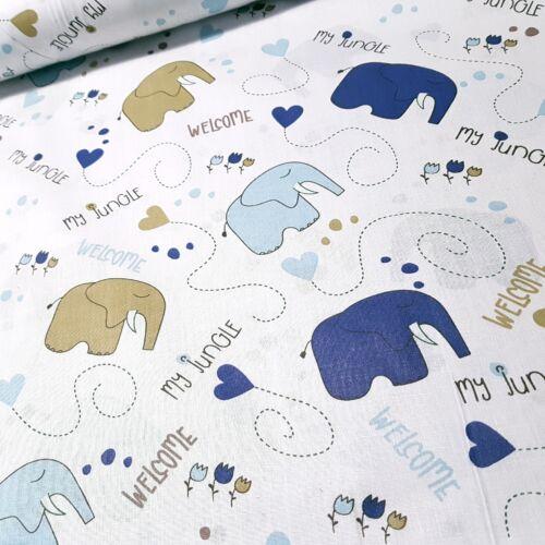 Kék elefántos pamutvászon