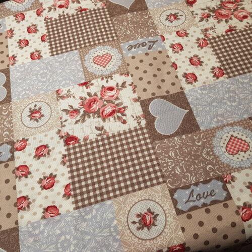 Kékes-barnás-szíves-rózsás dekorvászon-VINTAGE stílus