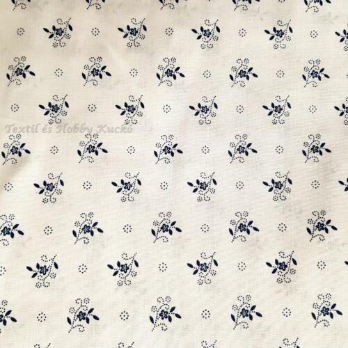 Kékfestő mintás pamutvászon - fehér
