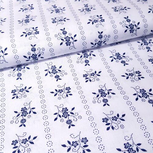Kékfestő mintás pamutvászon - fehér alapon csíkos