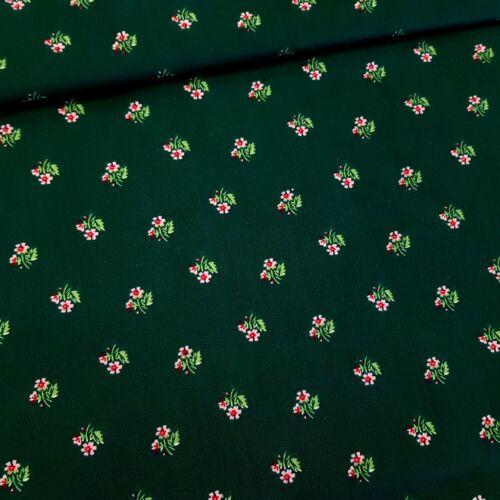 Népies - virágos pamutvászon zöld alapon