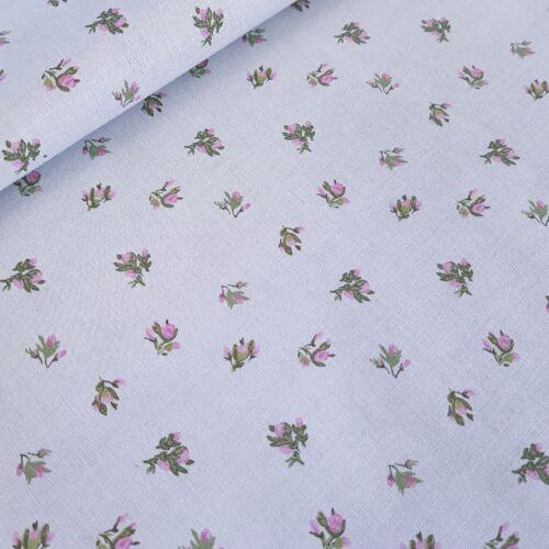 Kis rózsaszín virágos pamutvászon szürke alapon