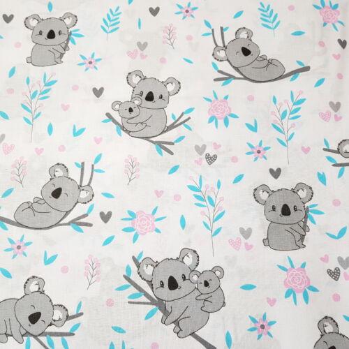 Koala macis pamutvászon türkiz-rózsaszín ágakon