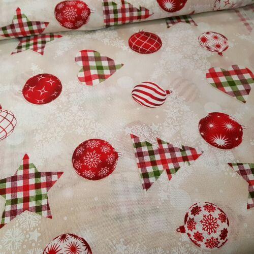 Kockás - gömbös karácsonyi dekorvászon