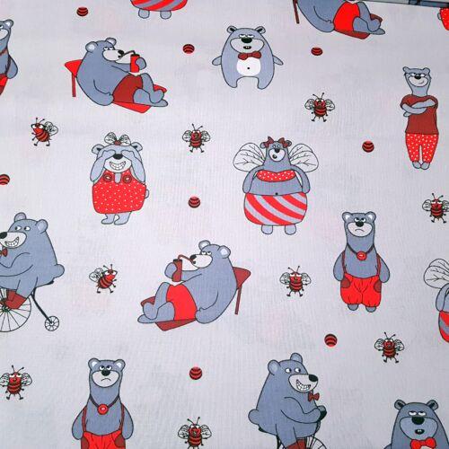 Maci Laci és Bubus pamutvászon piros ruhában