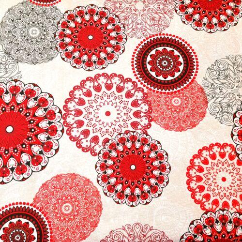 Mandalás dekorvászon - piros