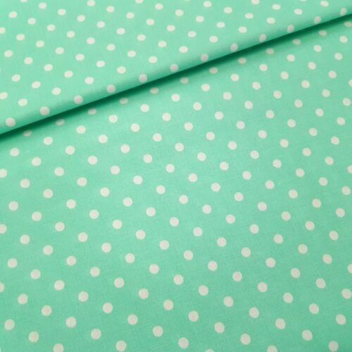 Menta alapon pöttyös pamutvászon ( 5 mm)