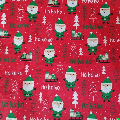 Mikulásos karácsonyi pamutvászon piros alapon (160 cm)
