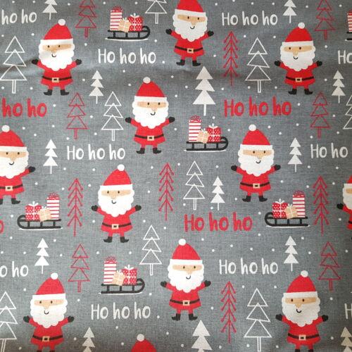Mikulásos karácsonyi pamutvászon sötétszürke alapon (160 cm)