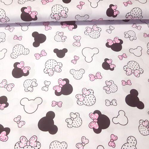Minnie rózsaszín masnival pamutvászon (160 cm) - fehér alapon