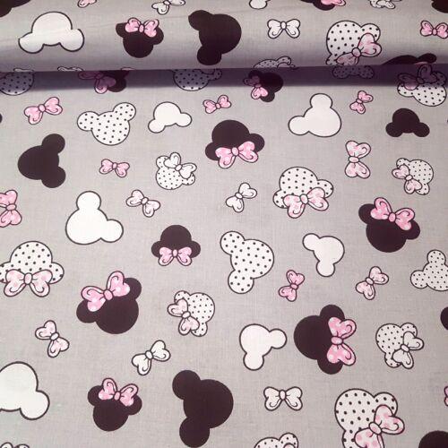Minnie rózsaszín masnival pamutvászon (160 cm) - szürke alapon