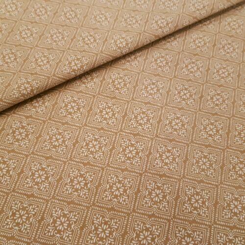 Mozaik mintás pamutvászon - világosbarna