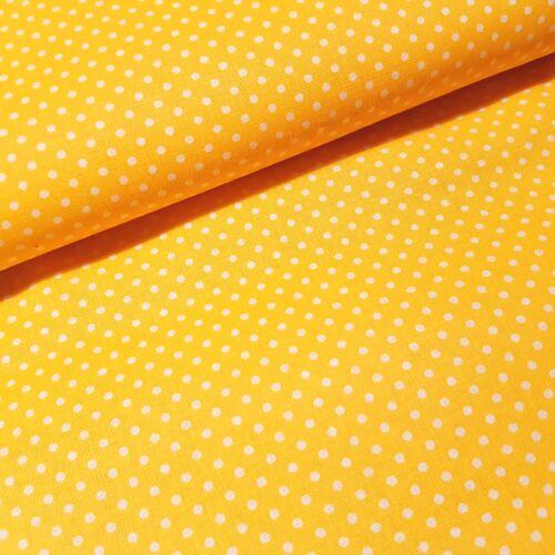 Napsárga alapon pöttyös pamutvászon ( 2 mm )