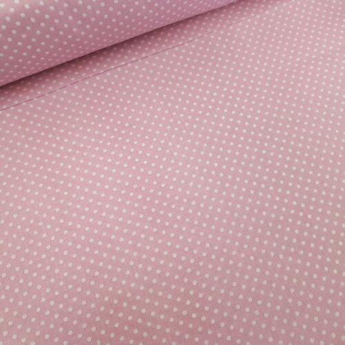 Rózsaszín alapon pöttyös pamutvászon (fáradt rózsaszín) (2mm)
