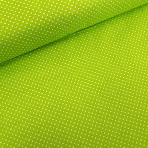 Kivizöld alapon pöttyös pamutvászon ( 2mm )