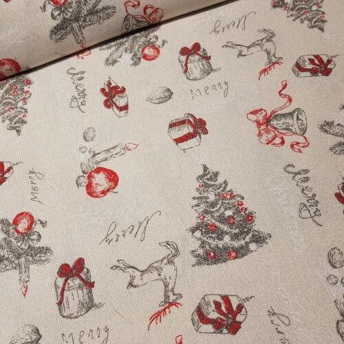 Karácsonyi mintás Panama Lurex  arany szövésű dekortextil