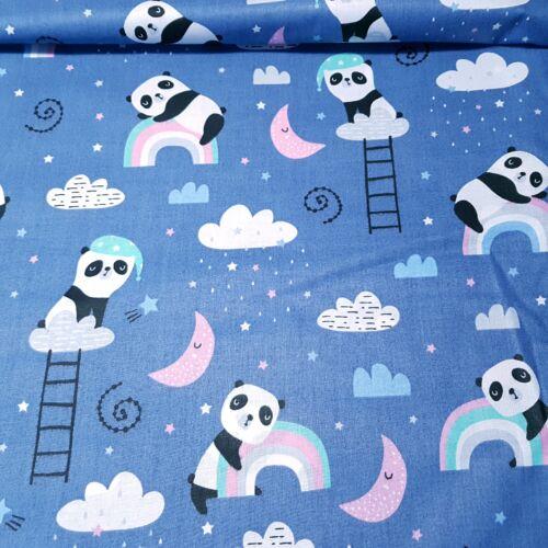 Panda macis pamutvászon farmerkék alapon