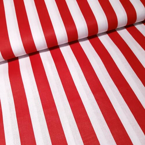 Piros - fehér csíkos pamutvászon (20 mm)