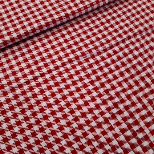 Piros kockás pamutvászon 5 mm