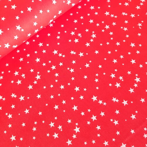 Piros alapon csillagos pamutvászon