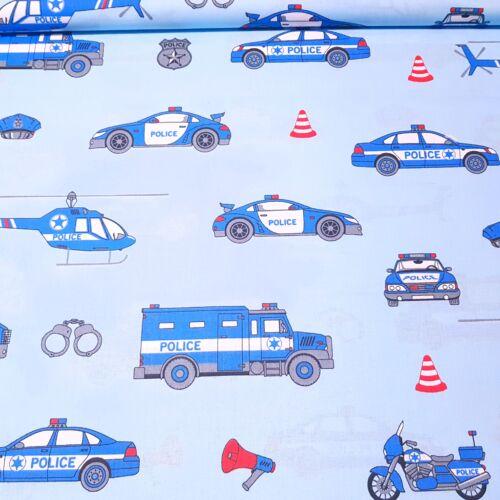 Rendőrautós, rendőrhelikopteres pamutvászon (160 cm) - kék alapon