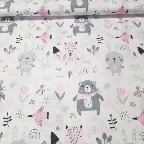 A nyuszi, a róka és a medve pamutvászon - rózsaszín  (160 cm)