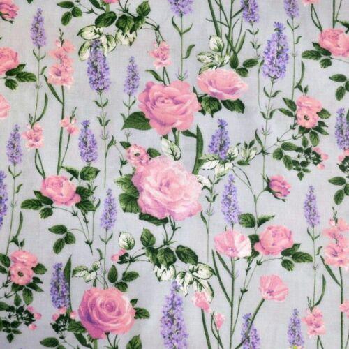 Rózsás pamutvászon szürke alapon (160 cm)