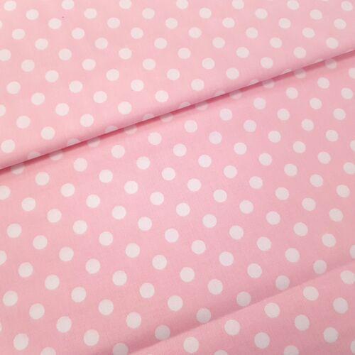 Rózsaszín alapon fehér pöttyös pamutvászon ( 10 mm)